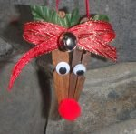 Dark Red Nosed Clothespin Reindeer